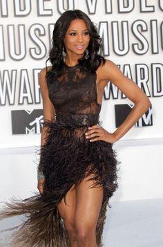 Ciara in black fringe dress at the MTV VMAs