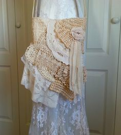 Lace Bag  Shabby Chic Vintage Lace Bag  Tattered by Pursuation