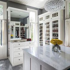 Walk In Closet with Tall Glass Front Shoe Cabinets, Contemporary, Closet