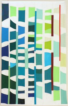 "Syncopating, 40"" h x 26"" w, by Nancy Bardach. Contemporary art quilt."