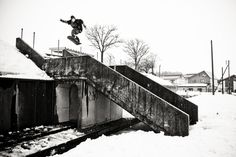 Rider: Dylan Thompson Photographer: E-Stone...these urban snowboarders scare me!