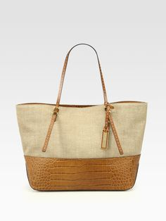 f88608033c1e35 Michael Kors Gia Colorblock Crocodile Embossed Leather Tote in Beige  (luggage)   Lyst Michael