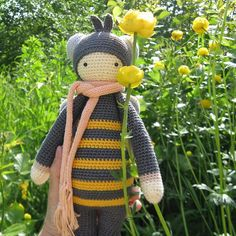 honeybee / Songbird studio; #baby #toys #crochet #garden #bee #honeybee #handmade #toys #knitting #lalylala #amigurumi #songbirdstudio #summer #yellow #flower