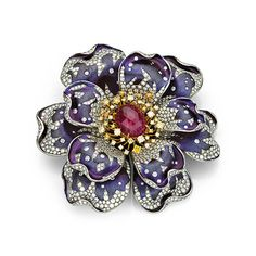 Saboo Fine Jewels ELEMENTO floral brooch combines titanium and gold with a ruby weighing carats, and 1163 diamonds totaling carats Silver Jewelry Box, Silver Jewellery Indian, Silver Hoop Earrings, Vintage Jewelry, Fine Jewelry, Silver Bracelets, Piercing, Free People, Silver Rings With Stones