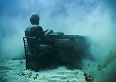 The Lost Correspondent - Underwater Sculpture by Jason deCaires Taylor