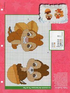Points de croix *@* cross stitch Disney Chip and Dale cross stitch