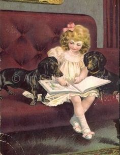 Vintage illustration - girl reading with dachshunds