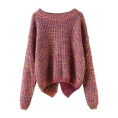 SheIn(sheinside) Long Sleeve Slit Back Purple Sweater ($20) ❤ liked on Polyvore featuring tops, sweaters, shirts, jumpers, multi color, asymmetrical sweater, pullover sweater, acrylic sweater, long sleeve shirts and colorblock sweater