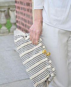Maria La Rosa / dado handle handwoven fabric (truffaut blue) by Maria La Rosa | petiteparis