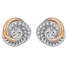 e830f58d7 SILVERAGE Sterling Silver Rose Gold Plated Two-Tone Love Knot Stud Earrings  -- We