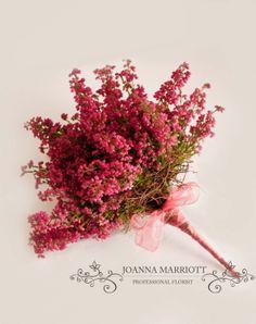 Heather Bridesmaid Bouquet, Vintage Flower Design, Autumnal Wedding Flowers.