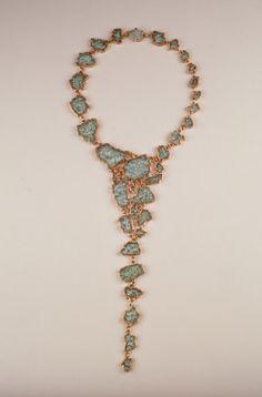 Tzu-Ju Chen ~ Islands, necklace, 32 inches. Electroformed copper and found broken windshield glass. 2000 photo by Dennis Gaffney