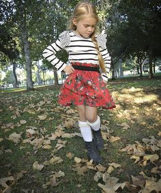 Take a look at this Black & White Stripe Floral Dress - Toddler & Girls on zulily today!
