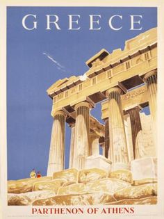 Solid-Faced Canvas Print Wall Art Print entitled Greece, Greek Parthenon,Vintage Poster, None Vintage Travel Posters, Vintage Ads, Around The World In 80 Days, Around The Worlds, Greek Parthenon, Old Posters, Death Valley National Park, California National Parks, Poster S
