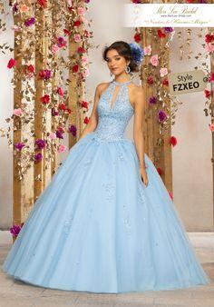 2abaf26bdf0 Crystal Beaded Lace Appliqués on a Tulle Ballgown Fun and Feminine