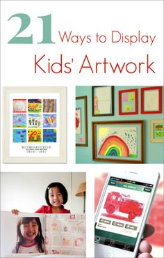 So Many Great Ways to Display Kids Artwork - perfect for modern families. I can't wait to try and How do you display your kids art? Displaying Kids Artwork, Artwork Display, Artwork Wall, Artwork Ideas, Projects For Kids, Crafts For Kids, Crafty Kids, Art For Kids, Kid Art