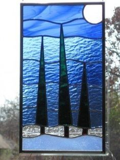 Stained Glass Panel Trees Listen to the Calm by DianeRinebold