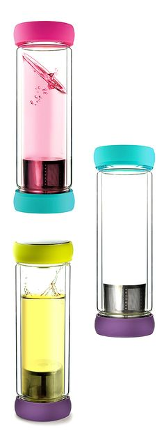 Travel tea infuser mug // the infuser is in the bottom lid, clever! #product_design
