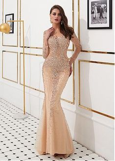 5057b025 Beautiful Sequin Lace V-neck Neckline Floor-length Mermaid Evening Dresses  With Beadings -
