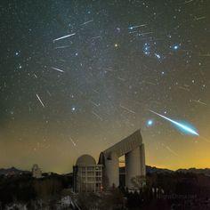 Meteoros Gemínidas sobre el Observatorio Xinglong