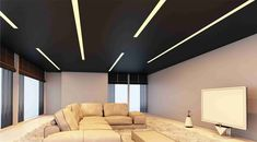 Iluminación en salón con perfiles empotrados y tira de LEDs.