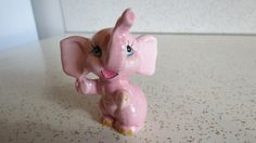 Vintage Anthropomorphic Happy Pink Elephant Figurine - Kitschy Cute Home Decor by AdoredAnew on Etsy