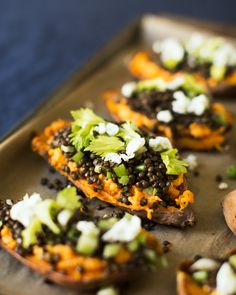 Lentil and Goat Cheese Stuffed Sweet Potatoes | A Couple Cooks