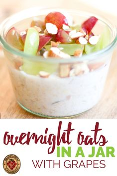 Here's how to make healthy and simple refrigerator oatmeal in a mason jar.  These overnight oats in a jar with plain yogurt, honey, and berries like grapes from California are easy to make, packed with protein, and good for kids.  #healthy #easy #withyogurt #honey #recipe #protein #refrigeratoroatmeal #howtomake #simple #basic #mealprep #forkids #berries #plain #overnightoatsinajar #overnightoatsrecipe #overnightoatshealthycleaneating #overnightoatshealthyeasy #overnightoatswithyogurt Smart Snacks, Easy Snacks, Yummy Snacks, Healthy Snacks, Overnight Oats With Yogurt, Fried Spring Rolls, Grape Recipes, California Food, Refrigerator Oatmeal
