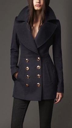 Wool Cashmere Pea Coat | Burberry 1095 by palamidaki