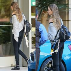 Celebrity Style | 海外セレブリティ最新スタイル情報 : 【ジジ・ハディッド】黒リュックをラフに着こなしたパンツスタイル
