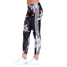 adidas Originals Womens Lotus Flower Print 3 Stripe Leggings Gym Pants #adidas