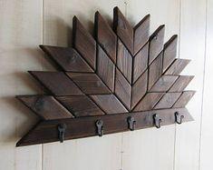 Farmhouse Key Holder- Dog Leash Holder- Rustic Wood Wall Art- Farmhouse Decor- Barn Quilt Key Hooks- Key Rack- Key Hanger- Dog Leash Hanger