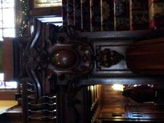 The gorgeously carved handrail at the Swedish Institute