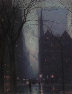 Fifth Avenue at Twilight - Lowell Birge Harrison 1910