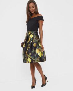 889ea0b1af750 Citrus Bloom full skirt - Black