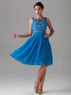 Lace Bodice Chiffon Dress