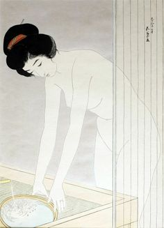 Hashiguchi Goyo - Woman Washing Her Face Woodblock Print, Shin Hanga) Japanese Drawings, Japanese Prints, Japanese Illustration, Illustration Art, Geisha, Art Indien, Japan Painting, Katsushika Hokusai, Art Japonais