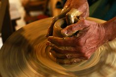 #ceramics #clay #handmade #hands #pottery #spinning #workshop #royalty free images