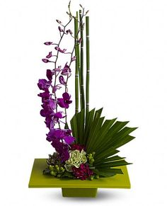 Artistry, indeed. Looking more like modern sculpture than a floral arrangement, this striking bouquet surprises with delicate purple orchids, mini bamboo and a colorful mix of blooms - sure to improve any room's feng shui.