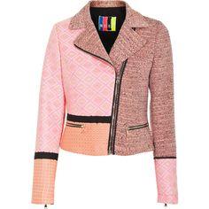 MSGM Candyland Pink Cropped patchwork biker jacket ($760) ❤ liked on Polyvore