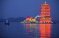 """Giant floating lantern """"Yellow Crane Tower"""" on Donghu Lake in Wuhan ..."""