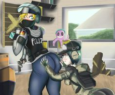 Rainbow Six Siege - IQ and Ela by GoldCrustedChicken Rainbow Six Siege Art, Rainbow 6 Seige, Tom Clancy's Rainbow Six, Video Game Memes, Video Game Art, Anime Meme, Tokyo Ghoul, Boruto, Ahegao
