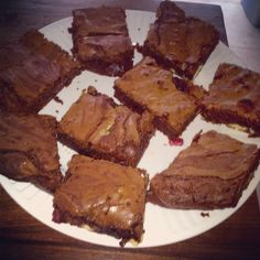 Homemade brownies with white chocolate and raspberries...Rachel Allen's recipe it's a must try!!