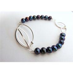 Triple Oval Black  Fresh Water Pearl Bracelet by Anna Backman