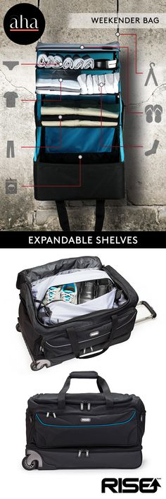 Rise Gear Weekender Bag - Innovative built-in expandable shelving system makes this the ultimate travel solution! BUY NOW: http://www.ahalife.com/product/149000011894/weekender-duffle-with-collapsible-shelves?utm_medium=ads&utm_source=Pinterest&utm_campaign=RiseGear_iOS&rw=0