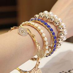 Bohemian Tiered Pearl Statement Bracelet
