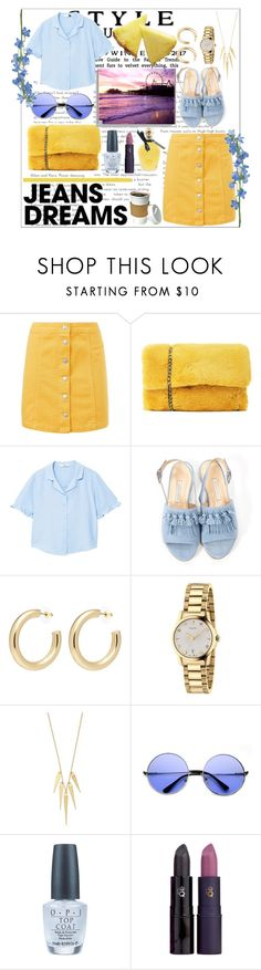 """Jeans Dreams at Santa Monica Pier!"" by eboony800 ❤ liked on Polyvore featuring Nasty Gal, MANGO, Bionda Castana, Kenneth Jay Lane, Gucci, OPI, Lipstick Queen, EB Florals and denimskirts"