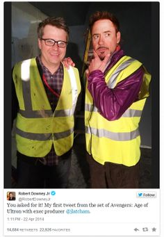 """Robert Downey Jr. tweeted today (Apr 22, 2014) from the set of """"The Avengers: Age of Ultron,"""" posing with executive producer Jeremy Latcham."""