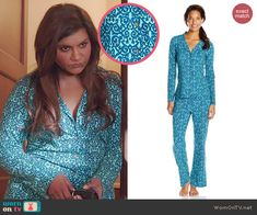 Mindy's blue patterned pajamas on The Mindy Project. Outfit Details: http://wornontv.net/45096/ #TheMindyProject