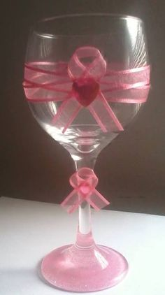 Handmade Breast cancer awareness wine glass. Great for decoration or candle Holder.